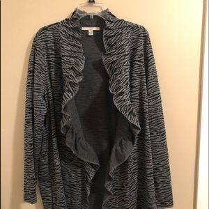 Fever Size 3X Ruffle Front, Zebra Like Sweater